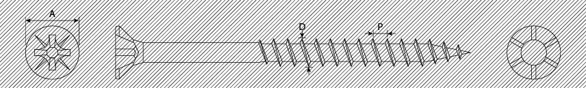 Viti per pannelli truciolari TSP PZ con alette filetto parziale