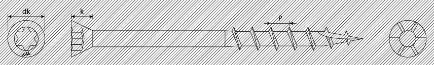 Tornillos para terrazas cabeza plana reducida estriada 60° TX punta type 17