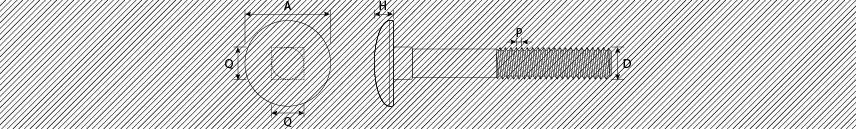 Viti metriche testa tonda con quadro sottotesta bassa resistenza