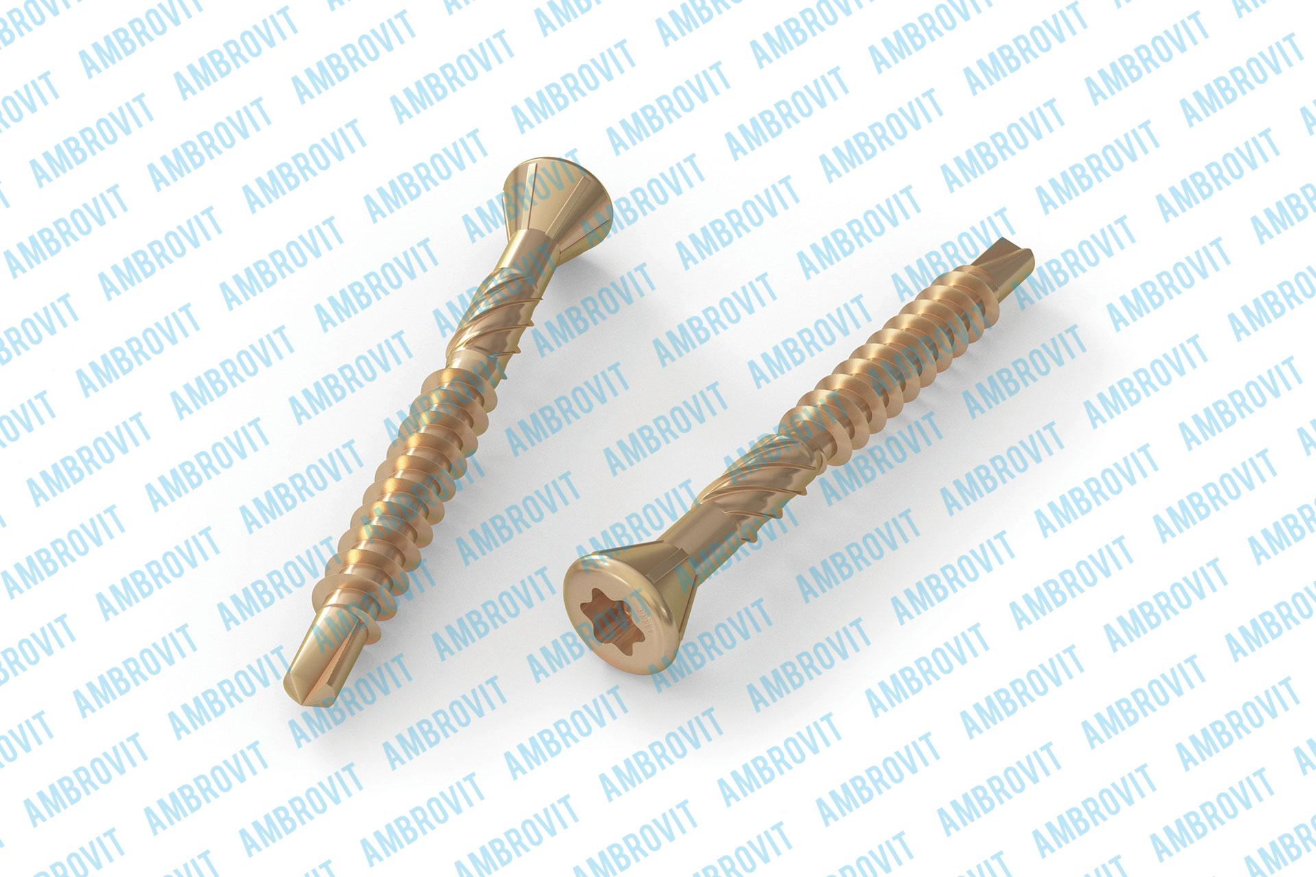 Carpentry wood floor board screws TX 60° small head w/ribs, serration and drilling point